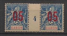 Gabon - 1912 - N°Yv. 70 - Groupe 05 Sur 25c - Paire Millésimée - Neuf * / MH VF - Neufs