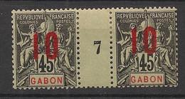 Gabon - 1912 - N°Yv. 73 - Groupe 10 Sur 45c - Paire Millésimée - Neuf * / MH VF - Neufs