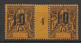 Gabon - 1912 - N°Yv. 75 - Groupe 10 Sur 75c - Paire Millésimée - Neuf * / MH VF - Neufs