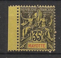 Mayotte - 1900 - N°Yv. 18 - Type Groupe 45c Noir Sur Jaune - Bord De Feuille - Neuf Luxe ** / MNH / Postfrisch - Ungebraucht
