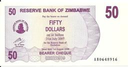 ZIMBABWE 50 DOLLARS BEARER CHEQUE 2006 UNC P 41 - Zimbabwe