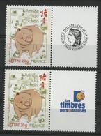"""N° 4001A (x2) Cote 12 € """"Année Du Cochon"""" Avec Vignettes Neufs ** MNH Qualité TB (description) - Personalisiert"""