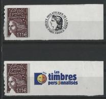 """N° 3729 C (x2) Cote 16 € """"Marianne De Luquet"""" Avec Vignettes Neufs ** MNH Qualité TB (description) - Personalisiert"""