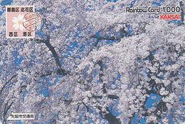 Carte Prépayée JAPON - FLEUR - ARBRE FLEURI Sur TIMBRE Série 07/16 - FLOWER On STAMP JAPAN Rainbow Card - 181 - Francobolli & Monete