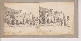 CROCODILE 1 PHOTO WITH DAMAGE 2 PHOTO On 1 CARD 18*9CM AFRICA AFRIQUE  ESTEREOSCOPICA STÉRÉOSCOPIQUE. STEREOSCOPIC - Africa