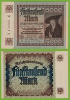 Reichsbanknote 5000 Fünftausend Mark 1922 Ros 80c UNC Laufende Nummern Y-K - Sin Clasificación