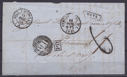 """L. Datée 11 Décembre 1858 (affr. Au Dos 40c Découpé) Obl. Ambulant """"M.I"""" De MONS Pour BEAUNE - Griffes [MONS] & [PD] - C - 1858-1862 Medallones (9/12)"""
