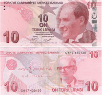 TURKEY        10 Türk Lirası        P-223c       2009 (2017)        UNC  [sign. Çetinkaya - Uysal] - Turkey