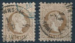 "O Magyar Posta Romániában 1867 2 Db 15sld ""BUCAREST / RECOMANDIRT"" - Zonder Classificatie"