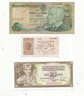Billet , Europe , Portugal , Italie , Yougoslavie ,2 Scans ,LOT DE 3 BILLETS - Other - Europe