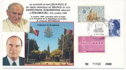 FRANCE - Visite Du Pape Jean Paul II Au Conseil De L'Europe - 1988 - Cachet Spécial Illustré Strasbourg - Idee Europee
