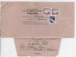 N° 1263 PAIRE + 10C BLASON  LEGER PLI ARCHIVE TROYES AVIS DE RECEPTION N°514 PONSAS DROME 27.6.1964 RARE - 1960 Marianne Of Decaris