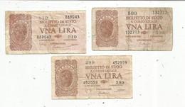 Billet , Italie , Biglietto Di Stato ,1 , Una Lira, Serie 399 , 509 , 519 ,2 Scans , LOT DE 3 BILLETS - Other