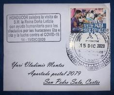 Cover Postmark COVID-19,Hurricanes ETA And IOTA,Visit Queen Letizia Spain, Postmark Was Used 14-15 DIC 2020 - Honduras