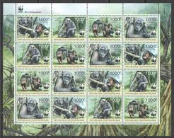 2012 CENTRAL AFRICA WWF MONKEYS PRIMATES ANIMALS #3682-3685 FULL SH MNH - Nuevos