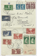N° 308 + BERLIOZ + HUGO + DIVERS LETTRE REC PARIS 12.8.1937 POUR ITALIE - 1921-1960: Modern Tijdperk