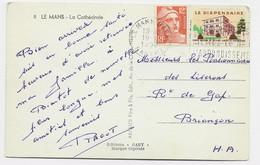 GANDON 12FR ORANGE CARTE MEC LE MANS GARE 19.11. 1952 + VIGNETTE LE DISPENSAIRE - 1921-1960: Modern Tijdperk