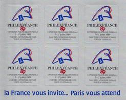 BLOC 6 VIGNETTES ANNONCES N° 24 PHILEXFRANCE 89 - Briefmarkenmessen