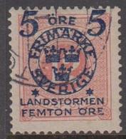 1916. Landstorm II. 5+Femton Öre On 12 Ö. Pale Red. (Michel 101) - JF416732 - Oblitérés