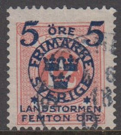 1916. Landstorm II. 5+Femton Öre On 12 Ö. Pale Red. (Michel 101) - JF416733 - Oblitérés