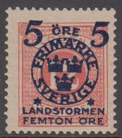 1916. Landstorm II. 5+Femton Öre On 12 Ö. Pale Red. (Michel 101) - JF416734 - Neufs