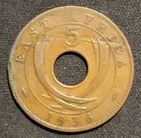 AFRIQUE DE L'EST - EAST AFRICA - 5 CENTS 1936 - Edward VIII - KM 23 - ( Fautée - Error Coin ) - British Colony