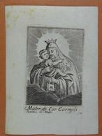Image Religieuse Gravure Mater De Cor Carmeli - Santini