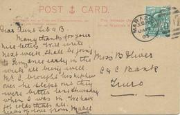 GB 1905 King Edward 1/2d Bluegreen VF Pc Duplex Postmark  MARAZION / 507 VARIETY (S.G. M1h, Michel No. 102 I / III) - Abarten & Kuriositäten