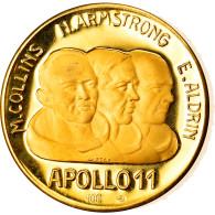 Italie, Médaille, Apollo 11, Le Premier Homme Sur La Lune, 1969, SPL, Or - Altri