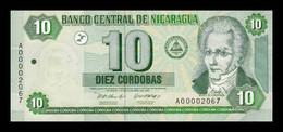 Nicaragua 10 Córdobas 2002 Pick 191 Low Serial SC UNC - Nicaragua