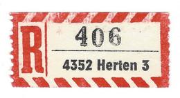 ★0004★ Germany R-Zettel ★★ PLZ 4352 Herten 3 - R- & V- Vignette