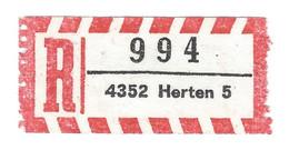 ★0004★ Germany R-Zettel ★★ PLZ 4352 Herten 5 - R- & V- Vignette