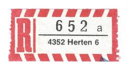 ★0004★ Germany R-Zettel ★★ PLZ 4352 Herten 6 A - R- & V- Vignette