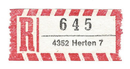 ★0004★ Germany R-Zettel ★★ PLZ 4352 Herten 7 - R- & V- Vignette