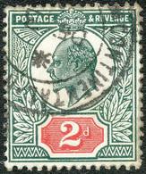 GB 1912 King Edward VII. 2d Black-green / Carmine Red Somerset VFU MAJOR VARIETY - Abarten & Kuriositäten