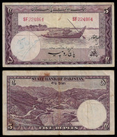 PAKISTAN BANKNOTE - 5 RUPEES (1951) P#12 F/VF (NT#04) - Pakistan