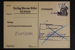 Berlin, MiNr. 390 Auf Postkarte: Antrag Auf Prüfung Einer Anschrift - Covers & Documents