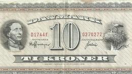DENMARK 10 KRONER BROWN MAN FRONT WINDMIL BACK NOT DATED 1952(?) P43C(?) VF READ DESCRIPTION !! - Denmark