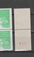 FRANCE / 2002 / Y&T N° 3458e/3458ea ** : Luquet 0.41 € (roulette Avec Et Sans N° Rouge Au Dos Se Tenant) X 1 (vert Clair - Neufs