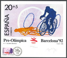 Spain, 1989, Olympic Summer Games Barcelona, Cycling, Limited Artist Card, Michel 2877 - Non Classificati