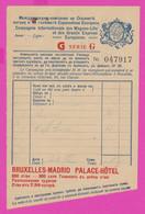 261318 / Bulgaria Menu  Compagnie Internationale Des Wagons-Lits , Bruxelles Madrid Palace Hotel Belgium Spain - Menus