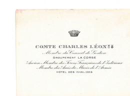 CARTE DE VISITE DE COMTE CHARLES LÉON - Andere