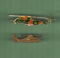 HELICOPTERE *** Lot De 2 Pin's Differents *** N°35 *** 5011-2 - Vliegtuigen