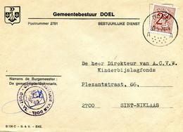 1974 DOEL Stempel Met A (1ste Bediende) Op Omslag Van Gemeentebestuur Naar St. Niklaas -  Zie Details Op Scans - Brieven En Documenten