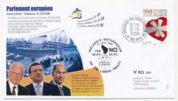 Env Affr 0,55E Ière Greffe Coeur - Cad Strasbourg Parlement Européen GA - 17/6/2008 - Référendum Irlandais - Pöttering, - Storia Postale