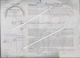Bill Of Lading The Spanish & Portuguese Batten Steam Shipping Company, London, 1888. Eight Barrels. Edward Pinto Basto & - Portugal