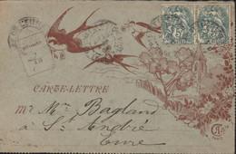 Carte Lettre Illustré église Hirondelles YT 111 X2 Prunay Le Gillon Eure Et Loire 30 DEC 1906 Carte De Voeux - Kartenbriefe