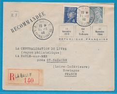 GUERRE WW2 ILOT SAINT NAZAIRE Poche Atlantique 1944 Timbres PETAIN Et MERCURE S Lettre RECO RF La Baule FRANCE 1918 - Guerre