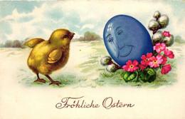 Ostern, Küken, Großes Ei Mit Gesicht, Ca. 30er Jahre - Pascua
