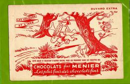 BUVARD : Chocolats  Fins MEUNIER  Les Voleurs Et L'Ane Fable De La Fontaine - Cocoa & Chocolat